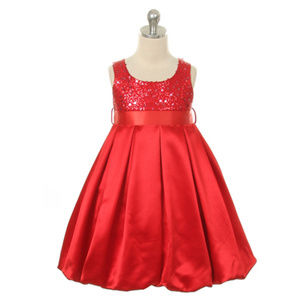 RED Sequins Satin Ballon Little Girl Dress